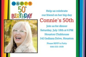 Custom Rainbow 50th Birthday Photo Invitation