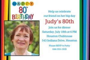 Custom Rainbow 80th Birthday Photo Invitation