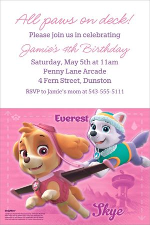 Custom Pink PAW Patrol Invitation
