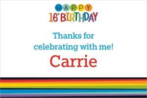 Custom Rainbow 16th Birthday Thank You Note