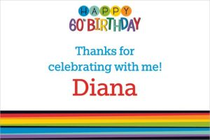 Custom Rainbow 60th Birthday Thank You Note