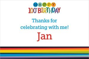 Custom Rainbow 100th Birthday Thank You Note