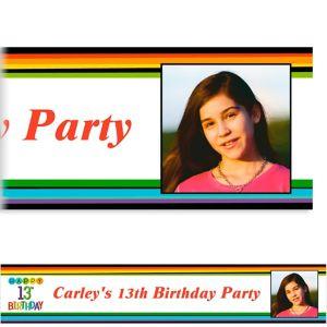 Custom Rainbow 13th Birthday Photo Banner