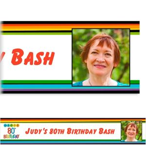 Custom Rainbow 80th Birthday Photo Banner