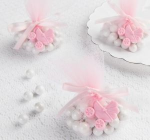 Pink Stroller Baby Shower Favor Charms 12ct