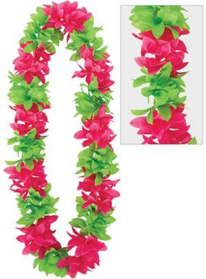 Green & Pink Flower Lei