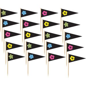 Neon Hibiscus Flag Picks 36ct