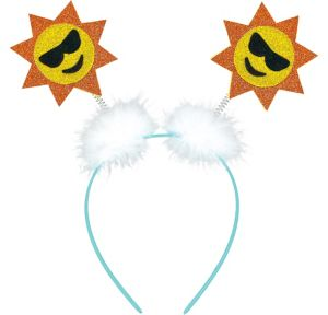 Glitter Sun Smiley Head Bopper