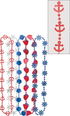 Blue, Red & Silver Nautical Bead Necklaces 10ct