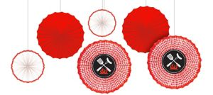 Picnic Party Red Gingham Paper Fan Decorations 6ct