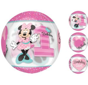 1st Birthday Minnie Mouse Balloon - See Thru Orbz