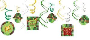 Pixelated Swirl Decorations 12ct