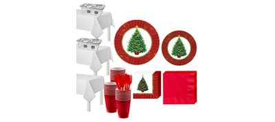 Twinkling Christmas Tree Tableware Kit for 100 Guests