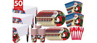 Classic Santa Tableware Kit for 50 Guests