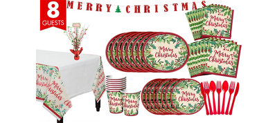 Holly Merry Christmas Tableware Kit for 8 Guests
