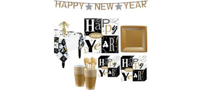 New Years Block Deluxe Tableware Kit for 16 guests