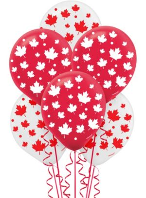 Canadian Maple Leaf Balloons 15ct