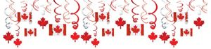 Canadian Flag Swirl Decorations 30ct