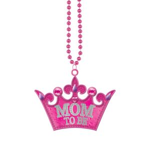 Mom-to-Be Tiara Pendant Bead Necklace