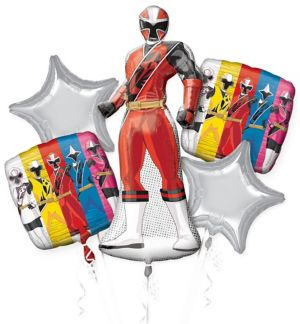 Red Ranger Balloon Bouquet 5pc - Power Rangers Ninja Steel