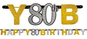 Prismatic 80th Birthday Banner - Sparkling Celebration