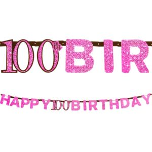 Prismatic 100th Birthday Banner - Pink Sparkling Celebration