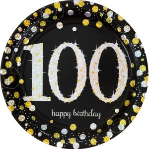 Prismatic 100th Birthday Lunch Plates 8ct - Sparkling Celebration