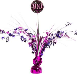 100th Birthday Spray Centerpiece - Pink Sparkling Celebration
