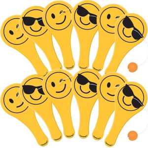 Smiley Paddle Balls 12ct