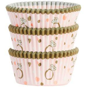 Sparkling Pink Wedding Baking Cups 75ct