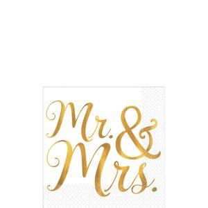 Gold Mr. & Mrs. Wedding Beverage Napkins 16ct