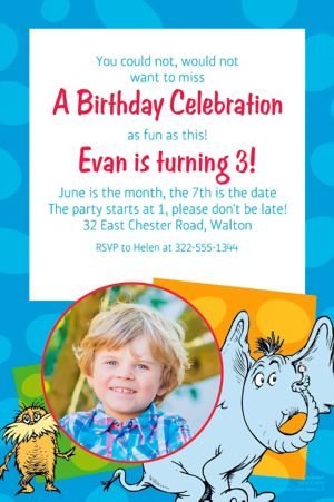 Custom Dr. Seuss Photo Invitation