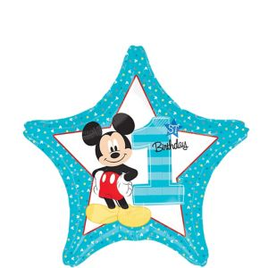 1st Birthday Mickey Mouse Star Balloon