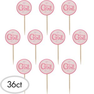 It's A Girl Pink Hearts Party Picks 36ct