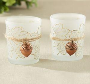 Acorn Charm & Leaf-Print Tealight Candle Holders