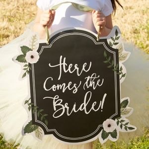Chalkboard Floral Here Comes the Bride Sign