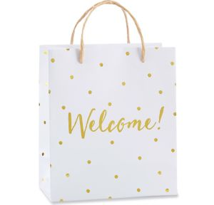Metallic Gold Dots Welcome Gift Bags