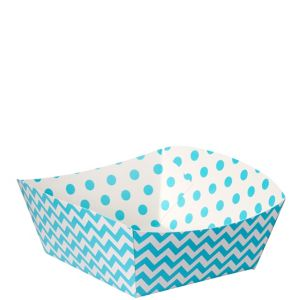 Caribbean Blue Polka Dot & Chevron Square Paper Food Trays 16ct