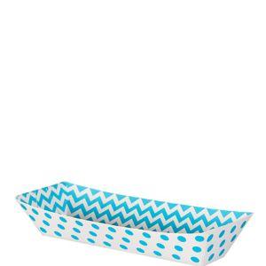 Small Caribbean Blue Polka Dot & Chevron Rectangular Paper Food Trays 16ct