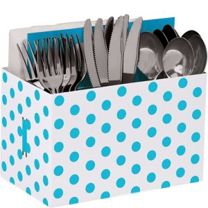 Caribbean Blue Polka Dot Utensil Caddy