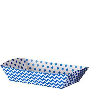 Royal Blue Polka Dot & Chevron Rectangular Paper Food Trays 16ct