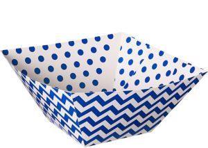 Bright Royal Blue Polka Dot & Chevron Serving Bowls 3ct