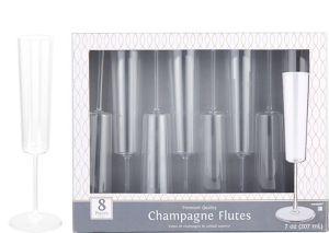 CLEAR Premium Plastic Edge Champagne Flutes 8ct