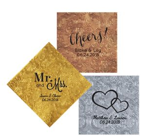 Personalized Wedding Embossed Damask Lunch Napkins