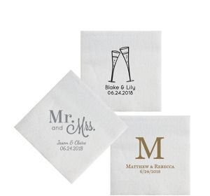 Personalized Wedding Luxury Deville Beverage Napkins