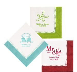 Personalized Wedding Bordered Lunch Napkins