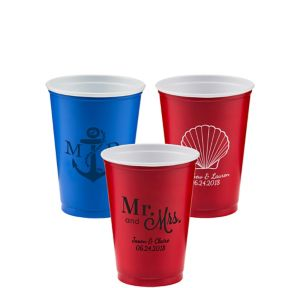 Personalized Wedding Solid Color Plastic Party Cups 10oz