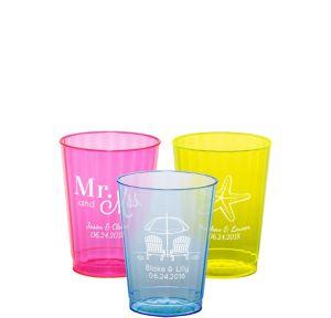 Personalized Wedding Neon Hard Plastic Cups 10oz
