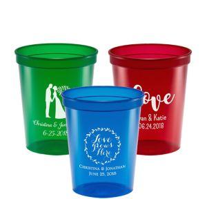 Personalized Wedding Translucent Plastic Stadium Cups 16oz