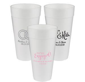 Personalized Wedding Foam Cups 24oz